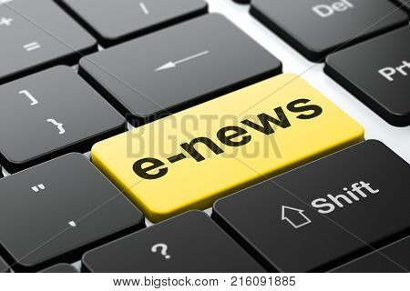 News concept: computer keyboard with word E-news, selected focus on enter button background, 3D rendering