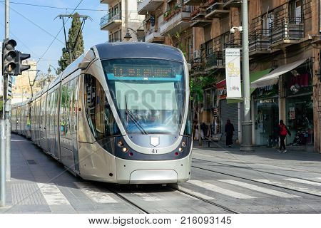 Jerusalem Israel - April 2017: The Jerusalem Light Rail Is A Light Rail System In Jerusalem. Current