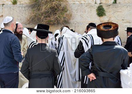 Jerusalem Israel - April 2017: Jewish Hasidic Pray A The Western Wall Wailing Wall The Place Of Weep
