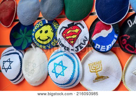 Jerusalem Israel - April 2017: Kippahs Yarmulkes Jewish Hats Covers Israeli Star Of David Souvenirs