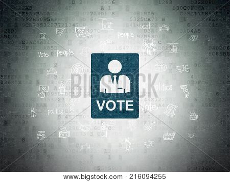 Politics concept: Painted blue Ballot icon on Digital Data Paper background with  Hand Drawn Politics Icons
