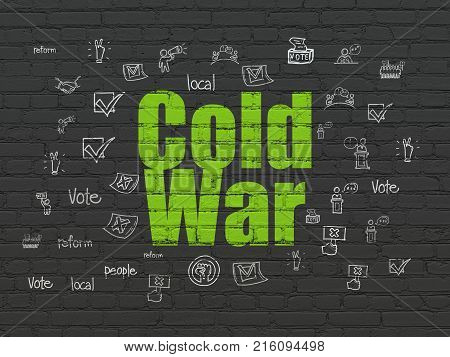 Political concept: Painted green text Cold War on Black Brick wall background with  Hand Drawn Politics Icons