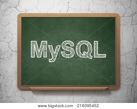 Database concept: text MySQL on Green chalkboard on grunge wall background, 3D rendering