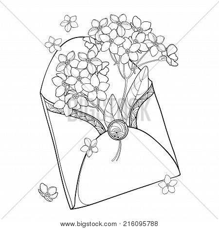Vector bouquet with outline Forget me not or Myosotis flower in opened black craft envelope isolated on white background. Wildflower Forget-me-not in contour style for spring design or coloring book.