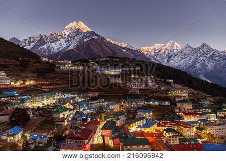 Namche Bazaar aerial view, Everest trek, Himalaya, Nepal poster