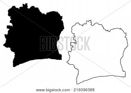 Ivory Coast map vector illustration , scribble sketch Republic of Côte d'Ivoire