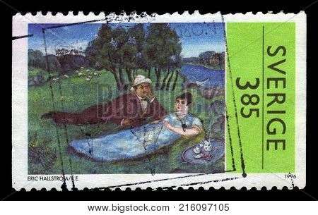 SWEDEN - CIRCA 1996: stamp printed in Sweden, shows painting by Eric Hallstrom, swedish artist, circa 1996