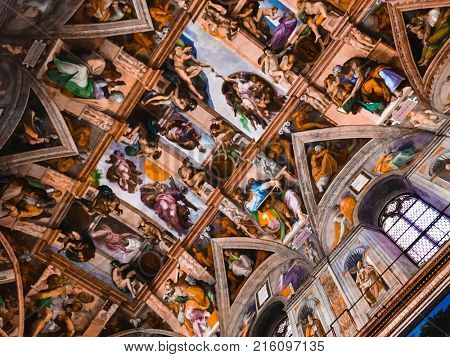 Italy, Vatican, Sistine Chapel, november 27, 2017, Ceiling of the Sistine chapel in the Vatican Museum