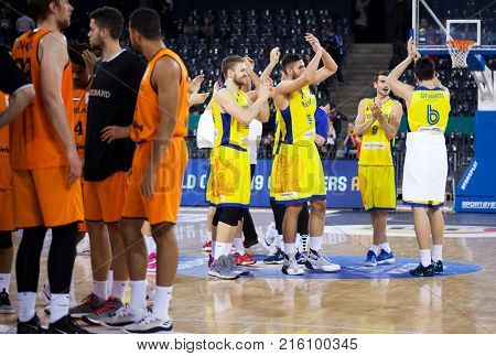CLUJ-NAPOCA, ROMANIA - 26 November 2017:The Romanian team celebrating after winning the FIBA Basketball World Cup 2019 qualifier game between Romania and Netherlands, Cluj-Napoca, 26 November 2017.