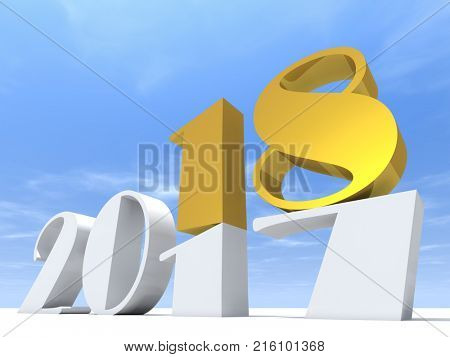 2018 white and yellow gold abstract happy new year eve, holiday symbol or number on 2017 text, white snow and sky background. Time celebration season change or future metaphor to hope 3d illustration