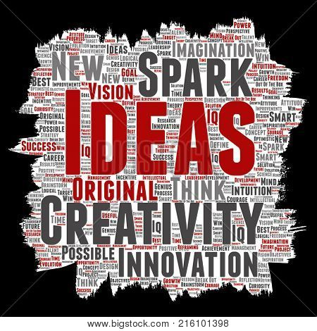 Concept or conceptual creative idea brainstorming paint brush paper word cloud isolated background. Collage of spark creativity original, innovation vision, think, achievement or smart genius