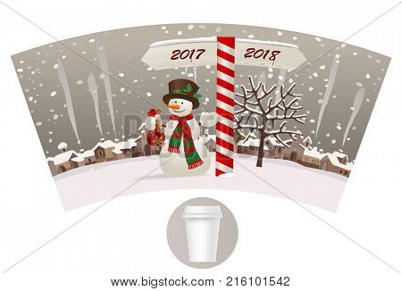 Design Template paper cup for coffee with a snowman near the milepost showing the way to 2018 against the winter landscape