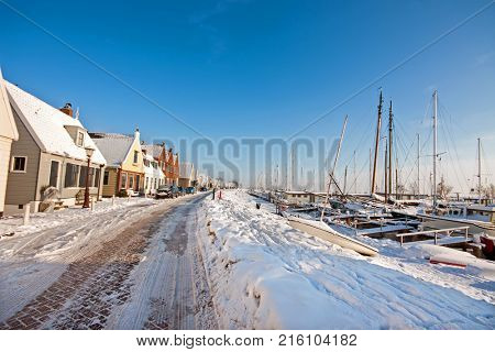 Snowy Durgerdam in winter in the Netherlands