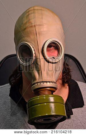 Toxic gas mask man