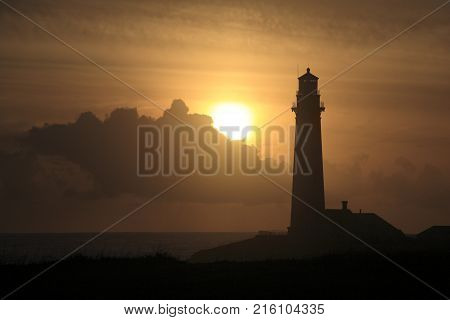 Pigeon Point Light Station in sunset, near CA route 1