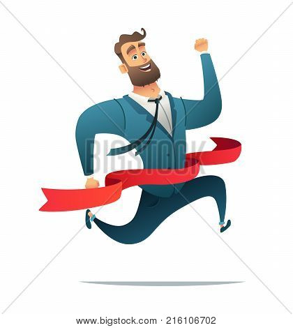 Concept Of Successful Businessman Or Manager On A Finish. Office Worker Reaching Finish Line.