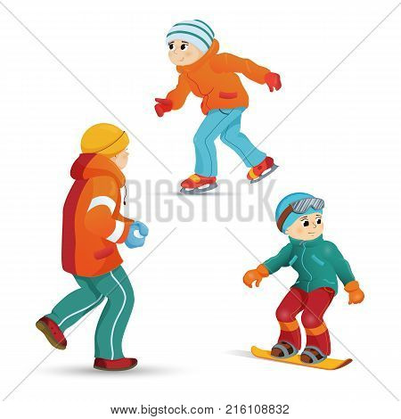 Boys having fun in winter - ice skating, snowboarding, playing snowballs, cartoon vector illustration isolated on white background. teenage boys ice skating, snowboarding, playing snowballs in winter