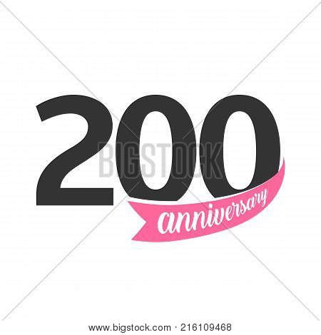 Two hundred Anniversary vector logo. Number 200. Illustration for greeting card, invitation, poster, marriage, commemoration, certificate