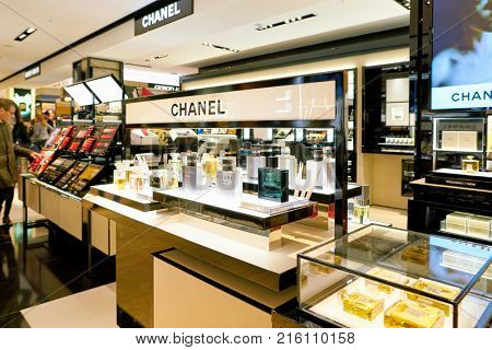 ROME, ITALY - CIRCA NOVEMBER, 2017: bottles of Chanel fragrance sit on display at a second flagship store of Rinascente in Rome.