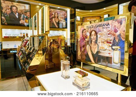 ROME, ITALY - CIRCA NOVEMBER, 2017: bottles of Dolce & Gabbana fragrance sit on display at a second flagship store of Rinascente in Rome. Dolce & Gabbana is an Italian luxury fashion house