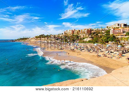 Summer holiday on El Duque beach in Tenerife, famous Adeje coast on Canary island - Spain