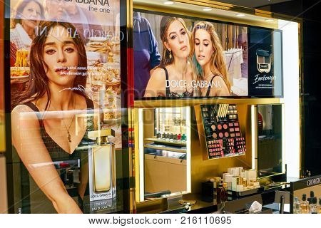 ROME, ITALY - CIRCA NOVEMBER, 2017: Dolce & Gabbana posters on display at a second flagship store of Rinascente in Rome. Dolce & Gabbana is an Italian luxury fashion house