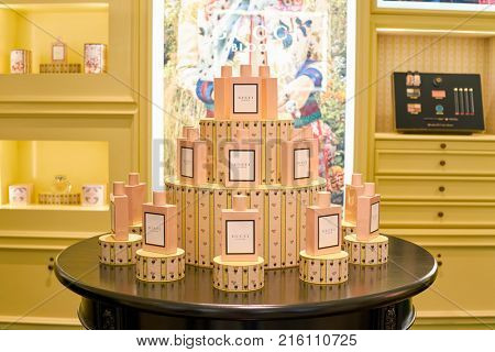 ROME, ITALY - CIRCA NOVEMBER, 2017: bottles of Gucci fragrance sit on display at a second flagship store of Rinascente in Rome.