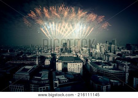 Celebration of the New Year in London, United Kingdom