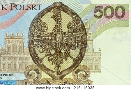 Part of back side new five hundred zloties bank note. Highest nominal of polish currency.