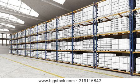 Draft drawing of boxes on shelfs in 3D logistics warehouse