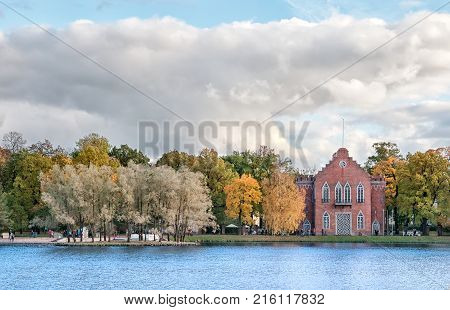 TSARSKOYE SELO, SAINT-PETERSBURG, RUSSIA - OCTOBER 7, 2017: One of The Admiralty Pavilions near The Great Pond in the Catherine Park. Was built in 1773
