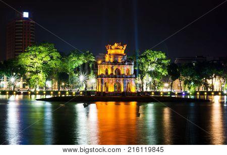 Turtle Tower In Hanoi Hoan Kiem Lake Night View