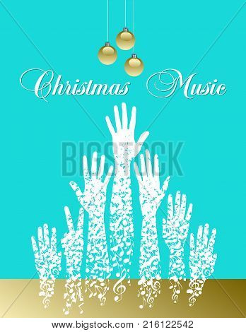 Musical theme Christmas tree made of musical notes for print or web use
