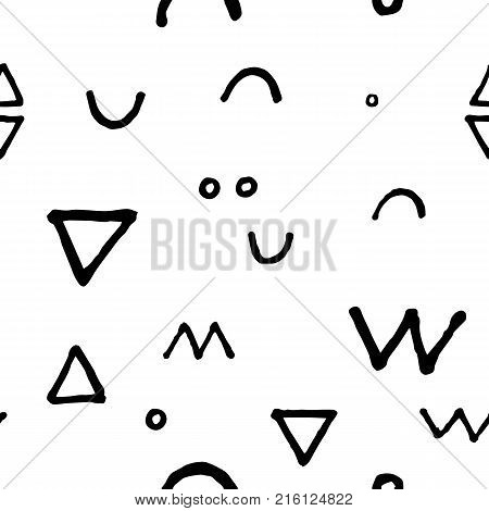 Black and white doodle seamless vector pattern. Spacious scribbled print. Abstract doodle seamless pattern. Handdrawn ornament. Memphis background decor tile. Trendy hipster ink doodle pattern tile