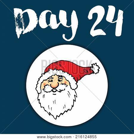 Christmas advent calendar. Hand drawn elements and numbers. Winter holidays calendar card design Vector illustration.