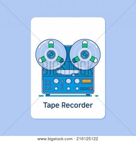 Vintage reel to reel tape recorder deck.Modern thin linear stroke vector icons.