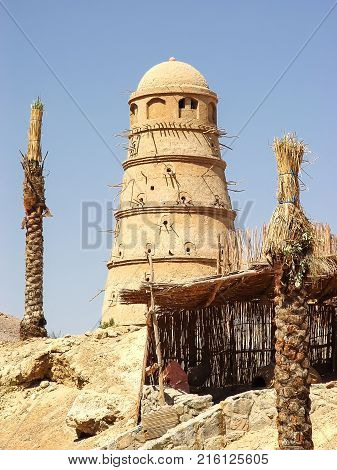 Egyptian dovecote in which pigeons are bred for eating. Resort El Gouna