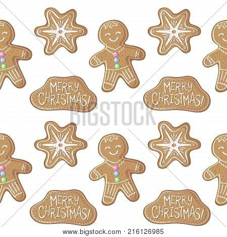 Gingerbread man and snowflake vector pattern. Christmas gingerbread seamless pattern on white background. New Year season decor. Christmas gift wrapping paper. Gingerbread cookie seamless pattern tile