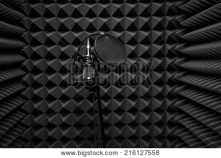 Microphone in the sound machine. The room for recording sound. Recording Studio