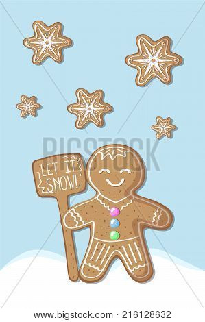 Christmas postcard with gingerbread man and snowflake. Merry Christmas vector postcard. Gingerbread figurine vertical illustration. Winter holiday greeting card. New Year poster. Let it snow print