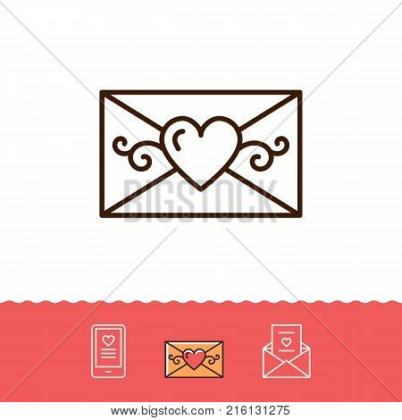 Email icon, Phone sign, Envelope line thin symbol. Love sms or romantic message icons, Mobile chat. Vector flat illustration