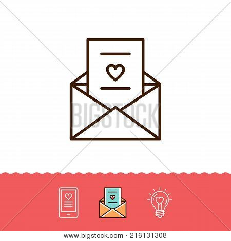 Email icon, Love sms or romantic message icons, Phone sign, Envelope line thin symbol. Vector flat illustration