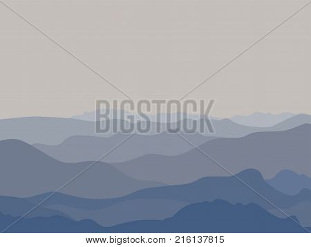 Mountains panorama landscape. Abstract mounts silhouette range. Simple flat style. Blue mountain terrain horizon with fog in the valley. Layered scenic view background. Vector flyer banner template