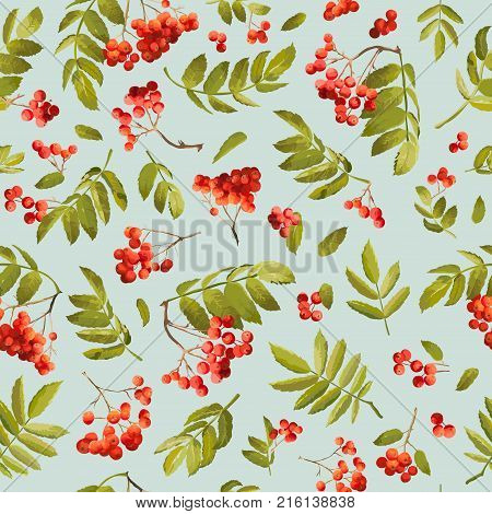 Fall Rowanberry Seamless Background. Floral Autumn Pattern with Leaves and Berries in Vector