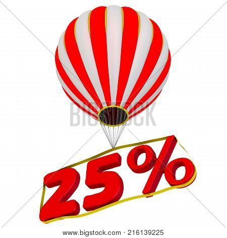 Twenty-five percent flies in a hot air balloon. Isolated. 3D Illustration