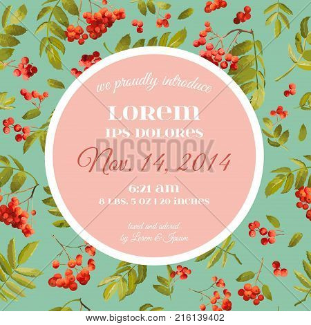 Baby Shower Invitation Template. Floral Greeting Card with Rowanberry and Leaves. Decoration for Childbirth Party Celebration. Vector illustration
