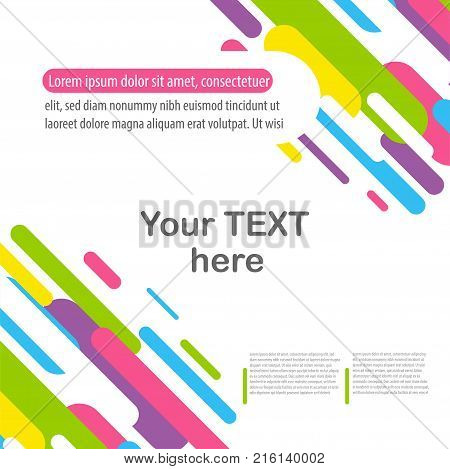 Colored cover book template trendy rounded corner banner. Colorful dynamic for text background mock up.