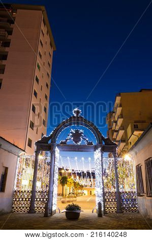 1840s Gate of the former ILVA Ironworks Complex in Follonica at Christmas time