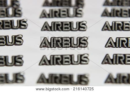 BERLIN - NOVEMBER 20 2017: Background of small lapel pins AIRBUS.