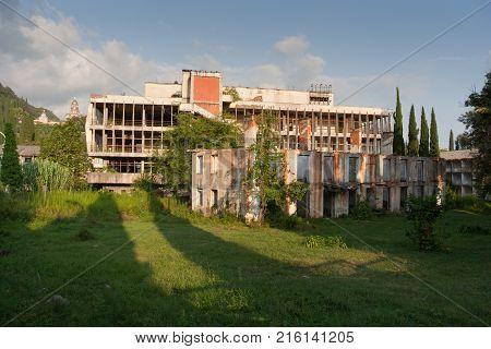 Abandoned hostel campsite in New Athos, Abkhazia, Georgia